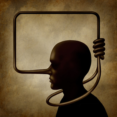 honestidad: Mentiras matar concepto como una persona con una nariz larga como una forma de un nudo de soga atada alrededor del cuello del hombre culpable como s�mbolo surrealista para auto infligido un da�o debido a la culpa y la responsabilidad s�mbolo lier. Foto de archivo