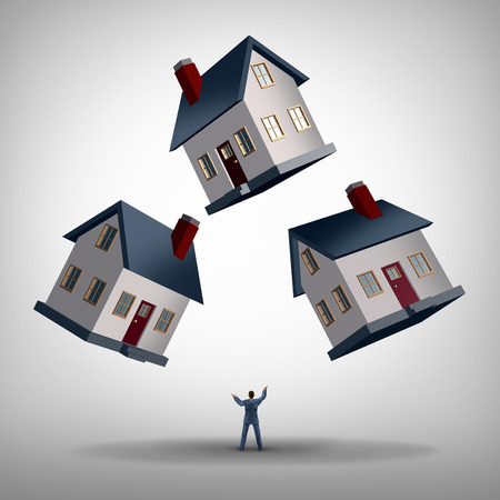 property management: Real estate manager and house flipping and management concept as a person juggling three homes as a residence manager or property agent managing a business challenge for profit.