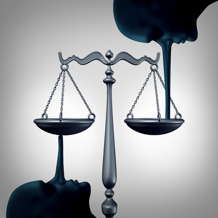 Lying justice concept and committing perjury symbol as a law scale being balanced by the long nose of liers making false statements  and lies to the legal system as a metaphor for dishonesty and lack of integrity. Stock Photo
