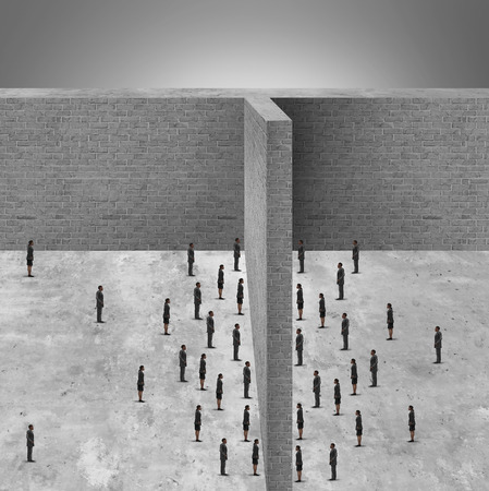 protectionism: Barrier to business and restricted access to people due to a brick wall obstacle blocking communication and detached from social interaction. Stock Photo