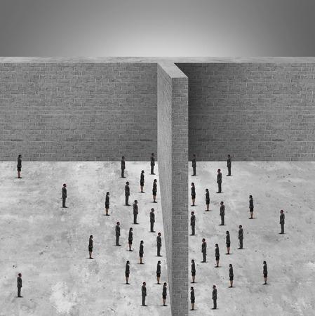 Hindernis für die Wirtschaft und beschränkter Zugang zu den Menschen aufgrund einer Mauer Hindernis blockiert die Kommunikation und losgelöst von der sozialen Interaktion.