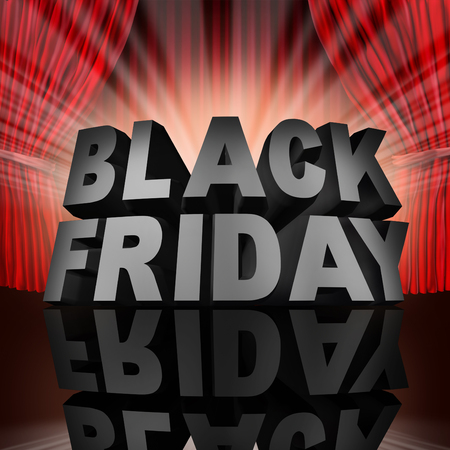 low prices: Black friday event sale banner sign as text on stage with red curtains as a thanksgiving holiday christmas season shopping time for low prices at retail stores offering discounted buying opportunities. Stock Photo