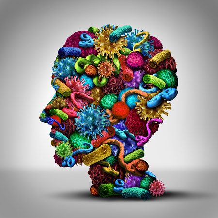 bacteria cell: Disease thinking illness issues and medical concept as a group of cancer bacteria cells and ebola virus shaped as a human head as a health care symbol of pathology ideas and solutions and information on treating infections.