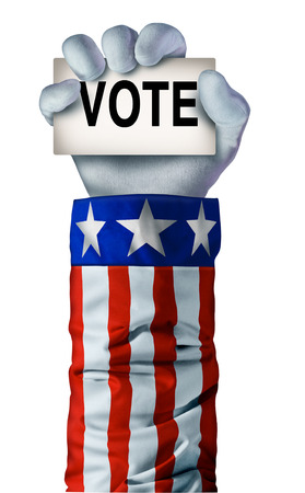 poll: American election hand concept with an arm wearing an United States flag jacket  holding a card with the word vote as a casting ballot symbol for president or political poll icon.