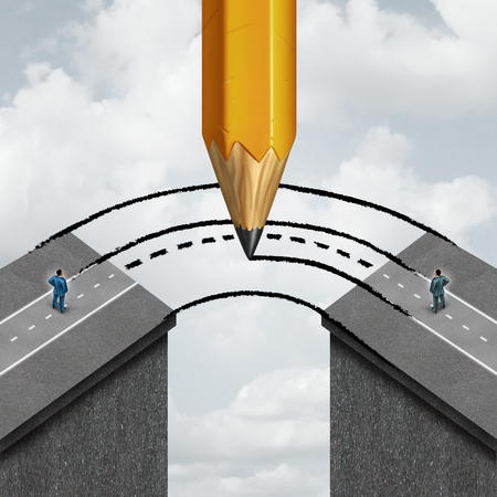Bridging the gap business partnership concept as a giant pencil drawing a joining road to connect divided businessmen as a cooperation symbol of support and assistance to help in joining separate partners.