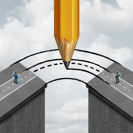 Combler le concept de partenariat d'affaires de l'écart en traçant une route reliant les hommes d'affaires pour se connecter fractionnées comme un symbole de coopération de soutien et d'assistance pour aider à se joindre à des partenaires distincts crayon géant. Banque d'images - 47997528