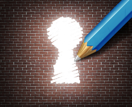 business opportunity: Business possibility idea concept as a white tipped pencil drawing a keyhole shape on a brick wall as an access to opportunity metaphor for finding a way to business success through creative ideas.