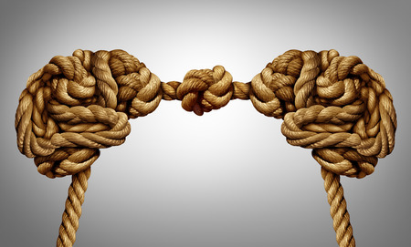 United thinking concept as an alliance for ideas exchange and common agreement as two brains made of rope tied together as a symbol for cooperation. Archivio Fotografico