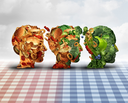 challenges: Changing diet healthy lifestyle achievement concept dieting progress change as a healthy lifestyle improvement symbol and evolving from unhealthy junk food to fresh fruits and vegetables shaped as a human head. Stock Photo