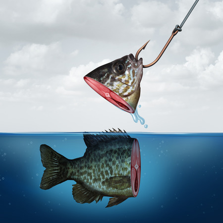 Disappointing profit business concept as a partial fish head on a hook with tehe rest of its body still in the water as a symbol for false promise and underperformance.