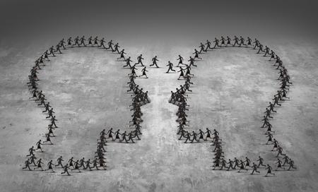 Conceito de negócio de liderança de trabalho em equipe ou símbolo de caça furtiva de funcionários como um grupo de empresários em execução, moldados como duas cabeças, reunidos como um ícone para a gestão de recursos humanos ou a estratégia comercial econômica.