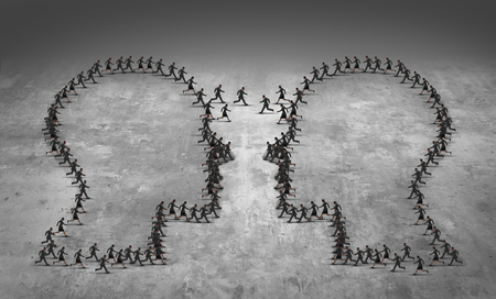 organize: Teamwork leadership business concept or employee poaching symbol as a group of running businesspeople shaped as two heads meeting together as an icon for human resource management or economic trade strategy. Stock Photo