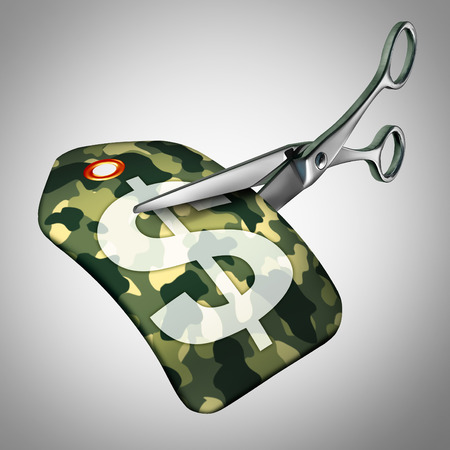 budget restrictions: Military cuts and armed forces cutbacks concept as a defense spending reduction symbol as a price tag with a camouflage pattern as a metaphor for financial cuts in troop size or defensive gouvernment departments.