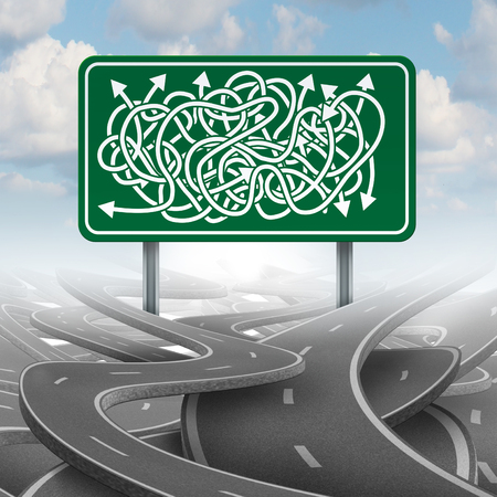 confusion: Business confused choice concept and bureaucracy symbol as a group of roads tangled with a green highway sign with mixed direction arrows. Stock Photo