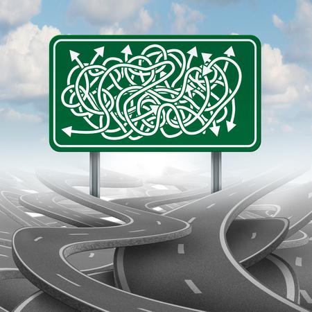 confundido: Negocio confundido concepto de la elección y el símbolo de la burocracia como un grupo de caminos enredados con una muestra de la carretera verde con las flechas de dirección mixtos.