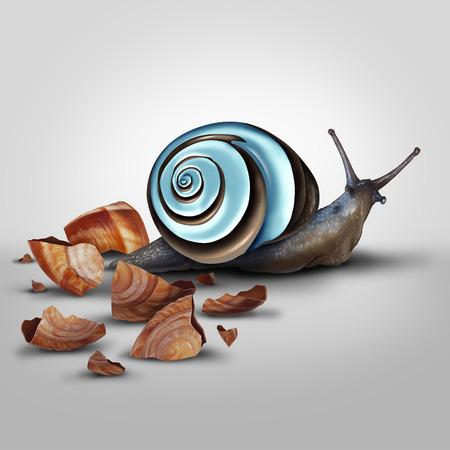 caracol: Concepto de mejora como un caracol Arrojando vieja cáscara para una actualización como un cromo moderno como metáfora de la nueva y mejorada y adaptarse y avanzar con la nueva tecnología. Foto de archivo
