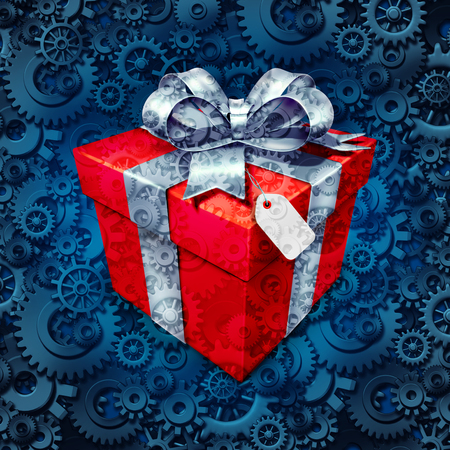 Gift business concept and corporate christmas or holiday presents symbol as a surpise box with a bow for a client or employee on a background of gears and cog wheels as a metaphor for the industry of giving.