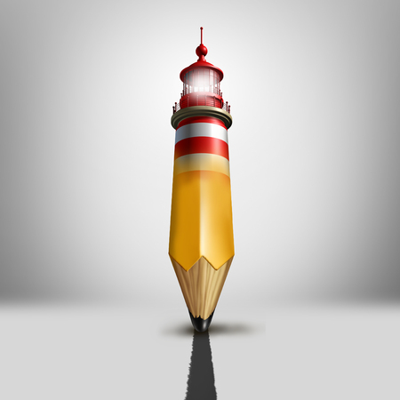 Guidance planning concept and plotting a course symbol as a metaphor for business advice anf financial direction navigation as a pencil shaped as a light house or lighthouse beacon showing the way to success.
