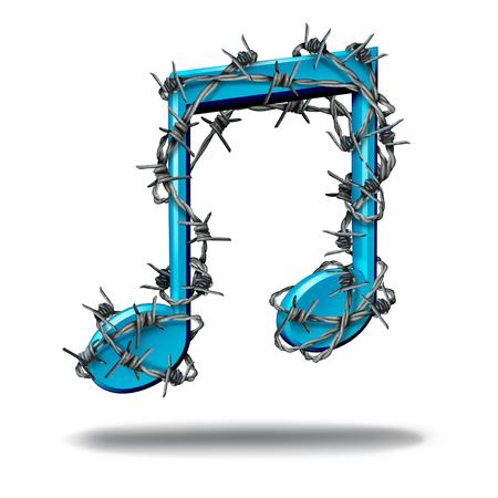 music lyrics: Concepto de restricción de la música como una nota musical envuelto con púa afilada o alambre de púas como una metáfora para el control parental o la prohibición de las canciones o la protección de los derechos digitales de contenido de audio y control de restricción de ruido. Foto de archivo