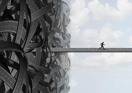 Escapar de manera que un hombre de negocios encontrar el camino solución para salir de la confusión de un grupo de caminos enredados para encontrar un camino hacia la libertad.