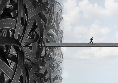 freiheit: Flucht Weise wie ein Geschäftsmann der Suche nach der Lösung Pfad die Verwirrung von einer Gruppe von verschlungenen Straßen zu verlassen, einen Weg in die Freiheit zu finden. Lizenzfreie Bilder