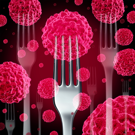 malignancy: Food cancer concept as a group of cancerous cells with dinner forks as a diet health risk metaphor for the danger of certain foods that may be associated with malignant tumors.