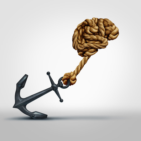 cognitive: Brain strength concept as a group of ropes shaped as human thinking organ pulling a heavy anchor as a symbol for cognitive function and exercises to strengthen the mind through education and learning.