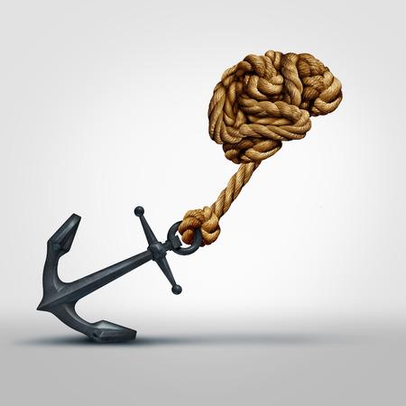 mente humana: Concepto de fuerza cerebral como un grupo de cuerdas formadas como órgano pensante humana tirar un ancla pesada como un símbolo de la función cognitiva y ejercicios para fortalecer la mente a través de la educación y el aprendizaje.