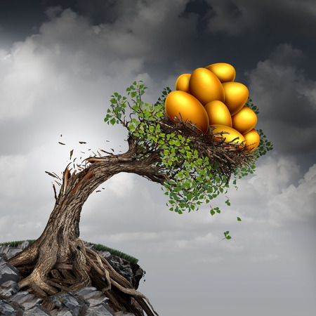 financial symbols: Financial success problem and investment stress symbol as a growing tree breaking due to the excess weight of growth income as a group of golden nest eggs pushing the plant down. Stock Photo