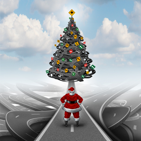 clause: Christmas stress and winter holiday guidance concept as santa clause standing on a path leading to a group of tangled roads shaped as a holiday tree with traffic signs as festive decorations as a seasonal metaphor for planning advice. Stock Photo