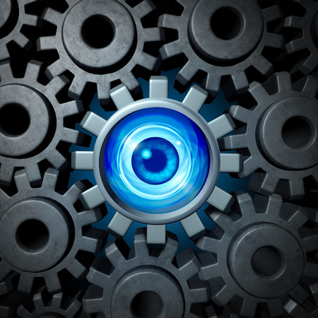 corporate espionage: Business supervision and vision concept and company security symbol as a group of connected gears and cog wheels with one eye surveillance camera  cogwheel as a metaphor for corporate supervision or espionage. Stock Photo