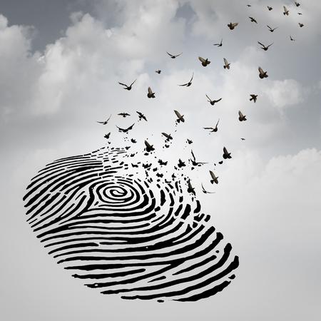 Identità concetto di libertà come un'impronta digitale trasforma in uccelli che volano come metafora per una persona di perdere un'identità psicologica o un simbolo di morte e di rinnovamento dopo una perdita di una persona cara. Archivio Fotografico - 48270074
