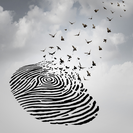 transform: Identity freedom concept as a fingerprint transforming into flying birds as a metaphor for a person losing a psychological identity or a symbol of death and renewal after a loss of a loved one.