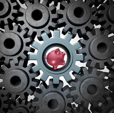 economics: Savings power financial economic engine symbol and business concept as a pink piggy bank running in a gear to move the cogwheels as an icon for the banking industry or budgeting.