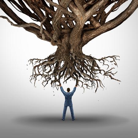 Ontworteling en macht concept en de growt mamnagement symbool als een zakenman die van een ontwortelde boom als een icoon voor milieuschade als een business idee. Stockfoto