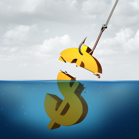 inferior: Lower returns business concept as a three dimensional dollar sign in the water with a fishing hook pulling a small portion of the financial symbol as a protit taking metaphor for inferior performance. Stock Photo