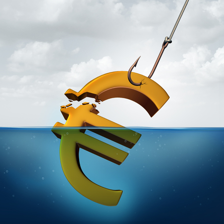 inferior: European tax concept and lower returns business idea as a three dimensional Euro currency sign in the water with a fishing hook pulling a portion of the financial symbol as a profit taking metaphor for inferior performance or taxation.