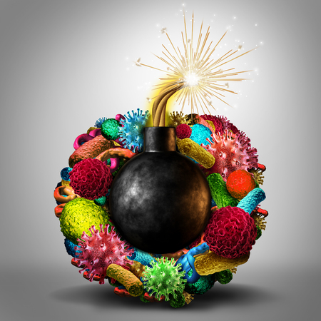 Disease time bomb medical health risk concept as a group of viruses bacteria and disease cells shaped as a lit bomb as a deadly risk metaphor for human infection risk.