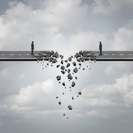 Business deal failure concept as two businessmen on a road bridge that is breaking down and disconnecting as a failing corporate relationship crisis symbol. Standard-Bild
