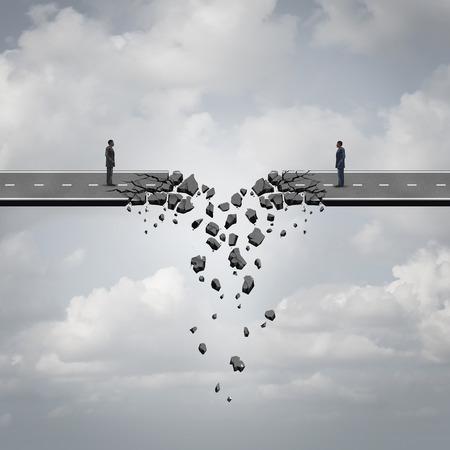 Zakelijke deal faillissement concept als twee zakenlieden op een weg brug die afbreekt en loskoppelen als een falende zakelijke relatie crisis symbool.