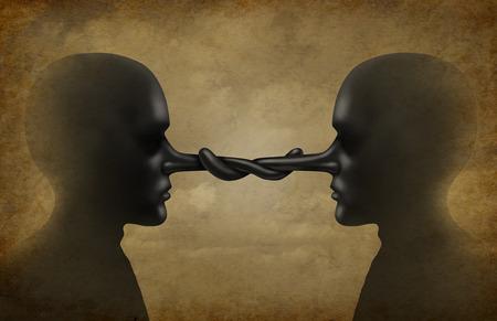 corrupcion: Asociación deshonesto o relación clandestina como dos personas fraudulentas corruptas reunidos juntos en un acuerdo secreto como una metáfora de negocios para los acuerdos corruptos o la corrupción en los negocios.