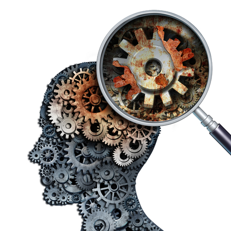 memories: Brain decline and dementia or aging as memory loss concept for brain cancer decay or an Alzheimers disease with the medical icon of a old rusting mechanical gears and cog wheels of metal in the shape of a human head with rust.