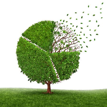 competitividad: la pérdida de los mercados financieros y el beneficio de perder como un gráfico circular en un árbol que crece hojas verdes que caen fuera como un concepto de negocio de la presión de la competencia como un símbolo gráfico corporativo de retos económicos y el cambio en un fondo blanco. Foto de archivo