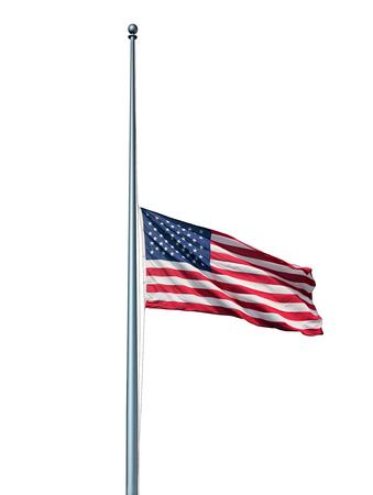 dia de muertos: Media asta concepto aislado bandera americana con el s�mbolo de los Estados Unidos que vuelan a baja altura sobre el asta de la bandera o el personal sobre un fondo blanco como un icono de respeto honor y luto por los h�roes ca�dos.