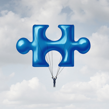 missing link: Leadership jigsaw puzzle concept as a solution metaphor with a businessman floating up to the sky with a balloon shaped as a fundamental key link unit to complete a project.