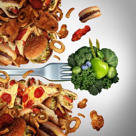 健康ダイエットの画期的な緑の健康的な果物と野菜のフィットネス ライフ スタイルと健康生活成功高コレステロールの脂肪分の多いジャンク フー