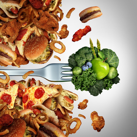 comida chatarra: Dieta Salud concepto de nutrición avance como un tenedor con frutas sanas verdes y verduras rompen a través de una pared de grasa colesterol alto la comida chatarra como un estilo de vida saludable y el éxito de estar bienestar. Foto de archivo