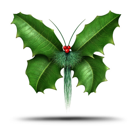 seasonal symbol: Magical holiday or Christmas celebration decoration element as a winter flying butterfly made of holly leaves evergreen pine needles and red berries as a festive freedom symbol of seasonal hope and joy on a white background.