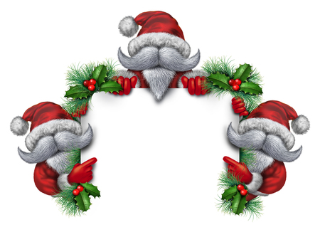 joyous: Santa group sign holding a blank banner as a mascot concept with the holiday characters wearing white beards a red snow suit as an icon of Christmas fun and joyous winter holiday celebration with holly and copy space. Stock Photo