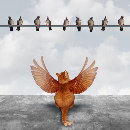 Motivation and imagination concept as an ambitious cat with imaginary wings looking up at a group of birds as an aspiration  metaphor for planning creative solutions and setting goals to achieve success. Stockfoto
